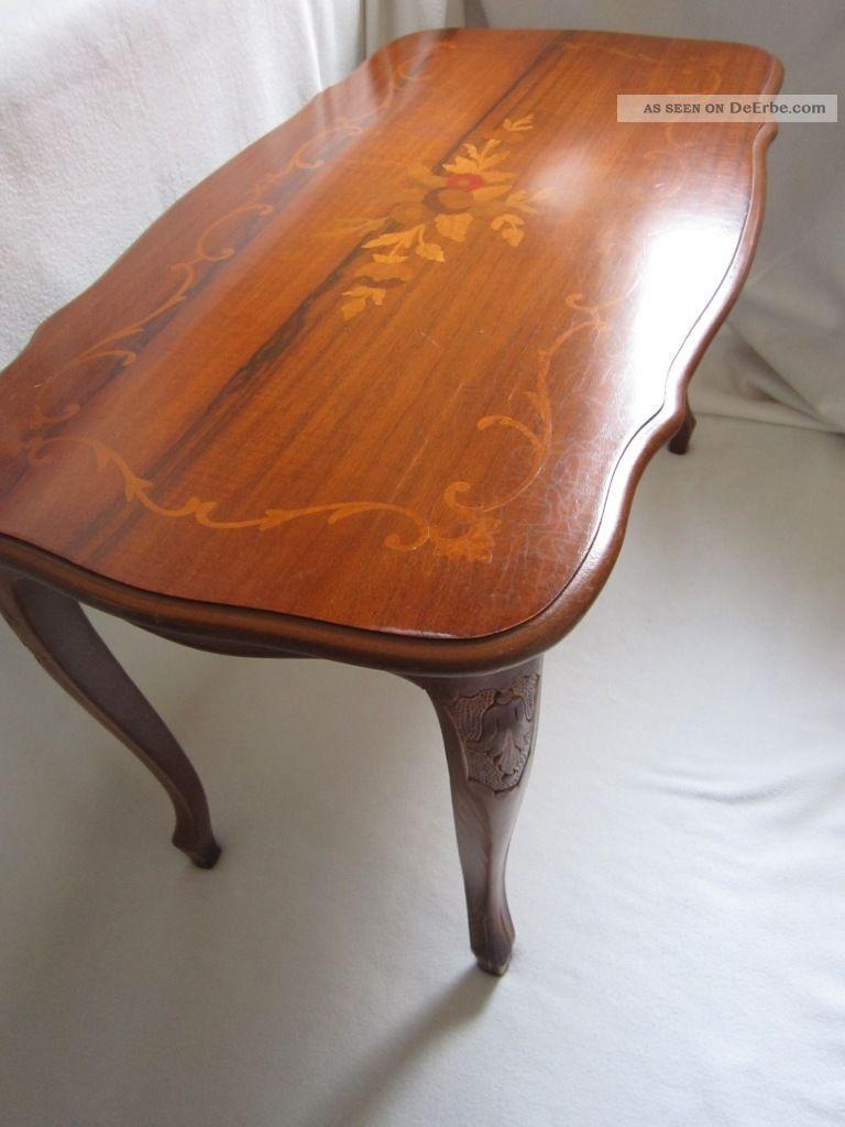 Inlay coffee table biedermeier tisch intarsien schellack beistelltisch nussbaum bild