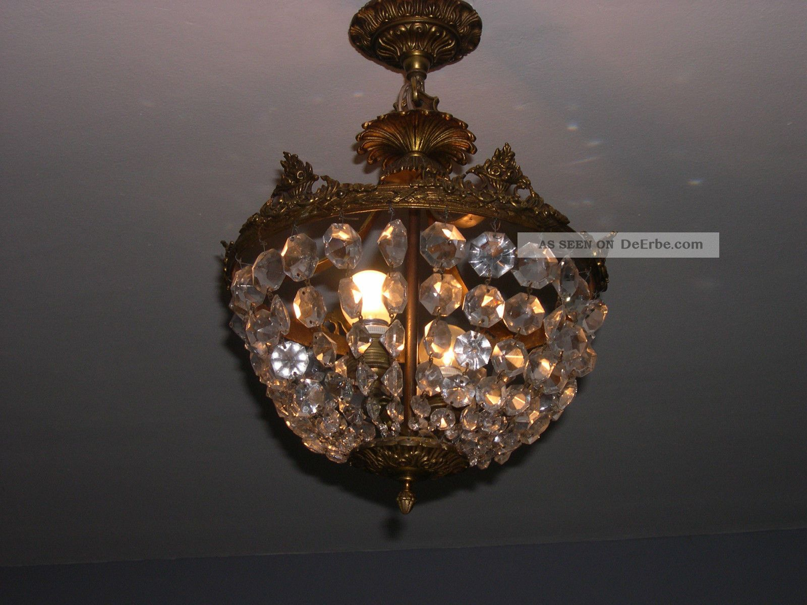 Plafoniere Kristall : Jugendstil glas kristall deckenlampe plafoniere ca. 1920