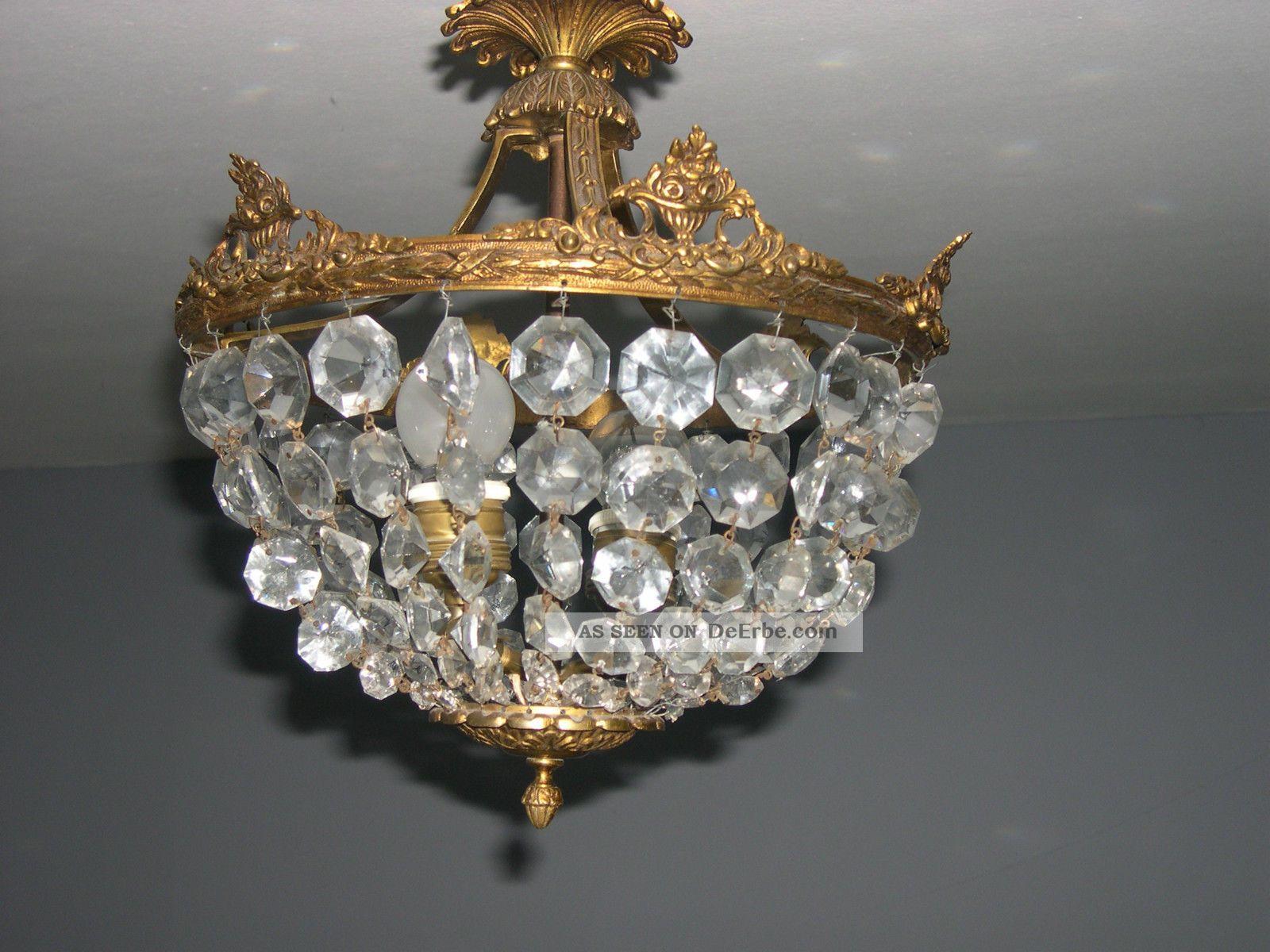 Plafoniere Kristall Antik : Plafoniere kristall groß sac a perle schöne prächtige messing