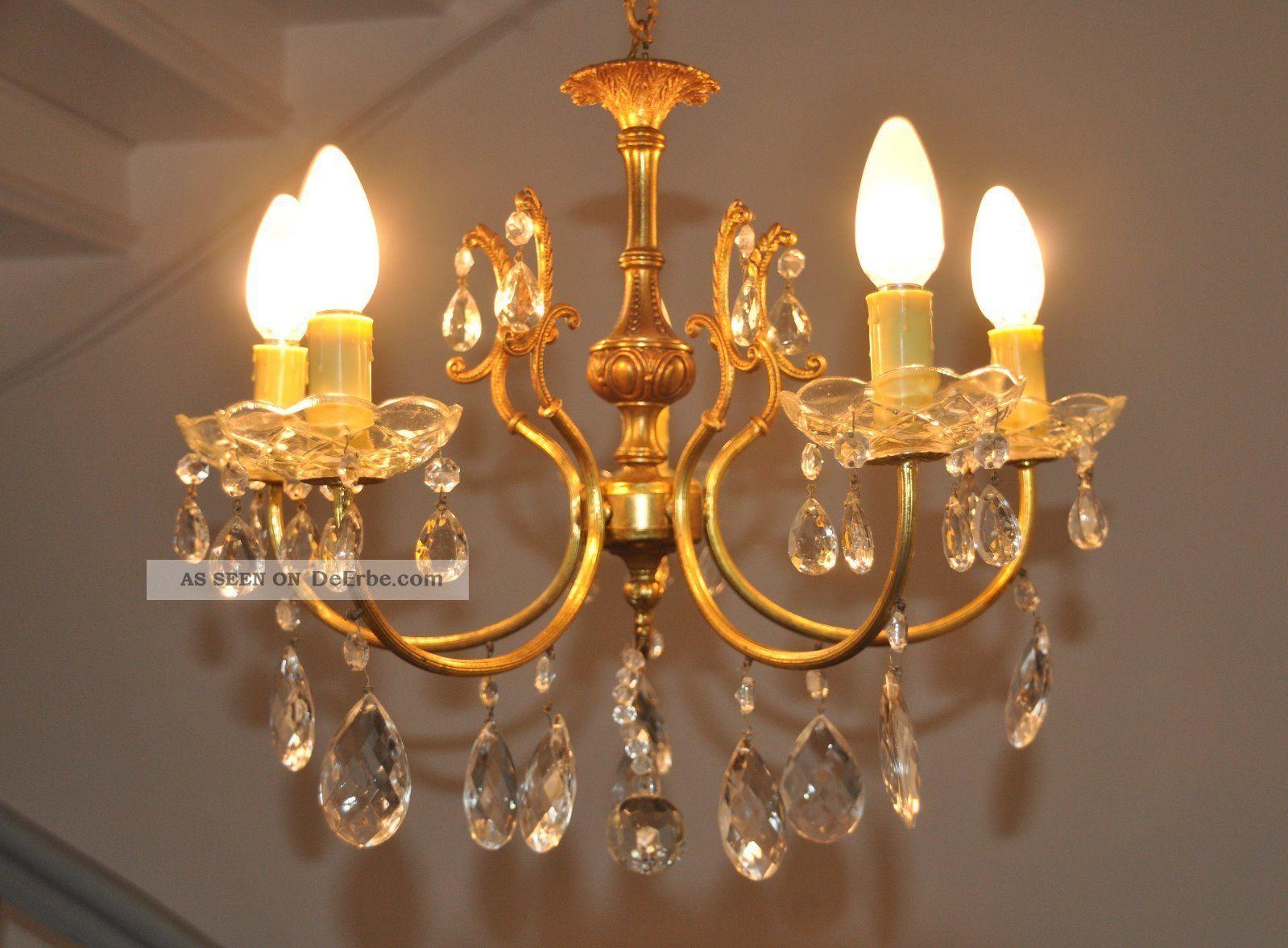 Antik Kronleuchter Lüster Kristall Lampe ~ Antiker jugendstil kristall kronleuchter lüster lampe 5 flam.