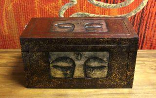 Truhe Schatztruhe Buddha Rot Braun Silber Massiv Kiste Box Aufbewahrung 60cm Bild