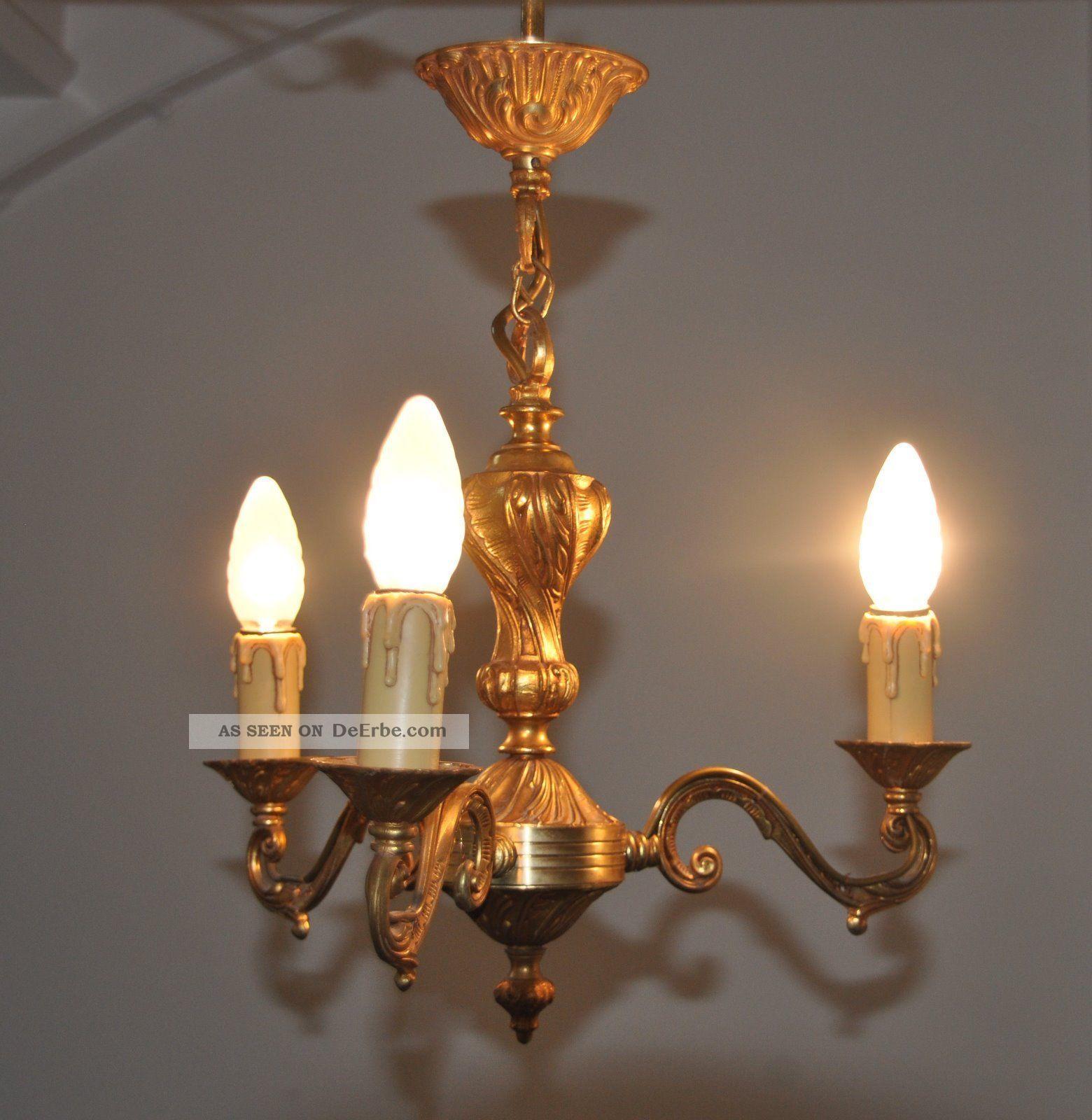antiker kleiner kronleuchter l ster lampe 3 flam. Black Bedroom Furniture Sets. Home Design Ideas