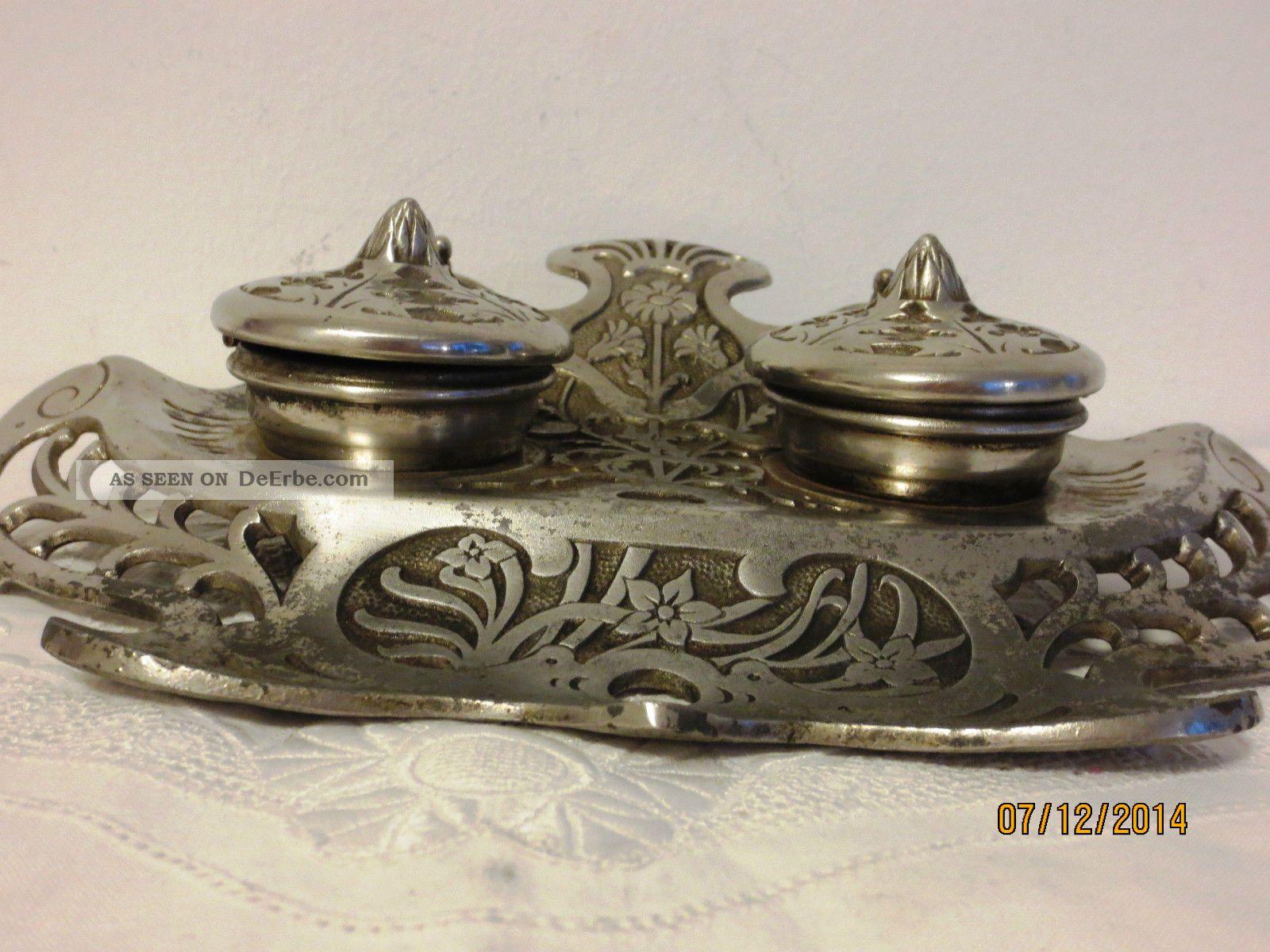 antike schreibtischgarnitur metall jugendstil um 1900. Black Bedroom Furniture Sets. Home Design Ideas
