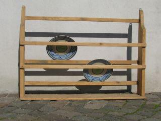 Antik Zierliches Tellerbord Teller Regal Weichholz Gelaugt Shabby Chic Bild