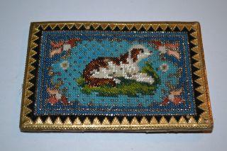 Visitenkartenmappe - Visitenkartenetui Mit Feinster Perlenstickerei Hund C1870 Bild