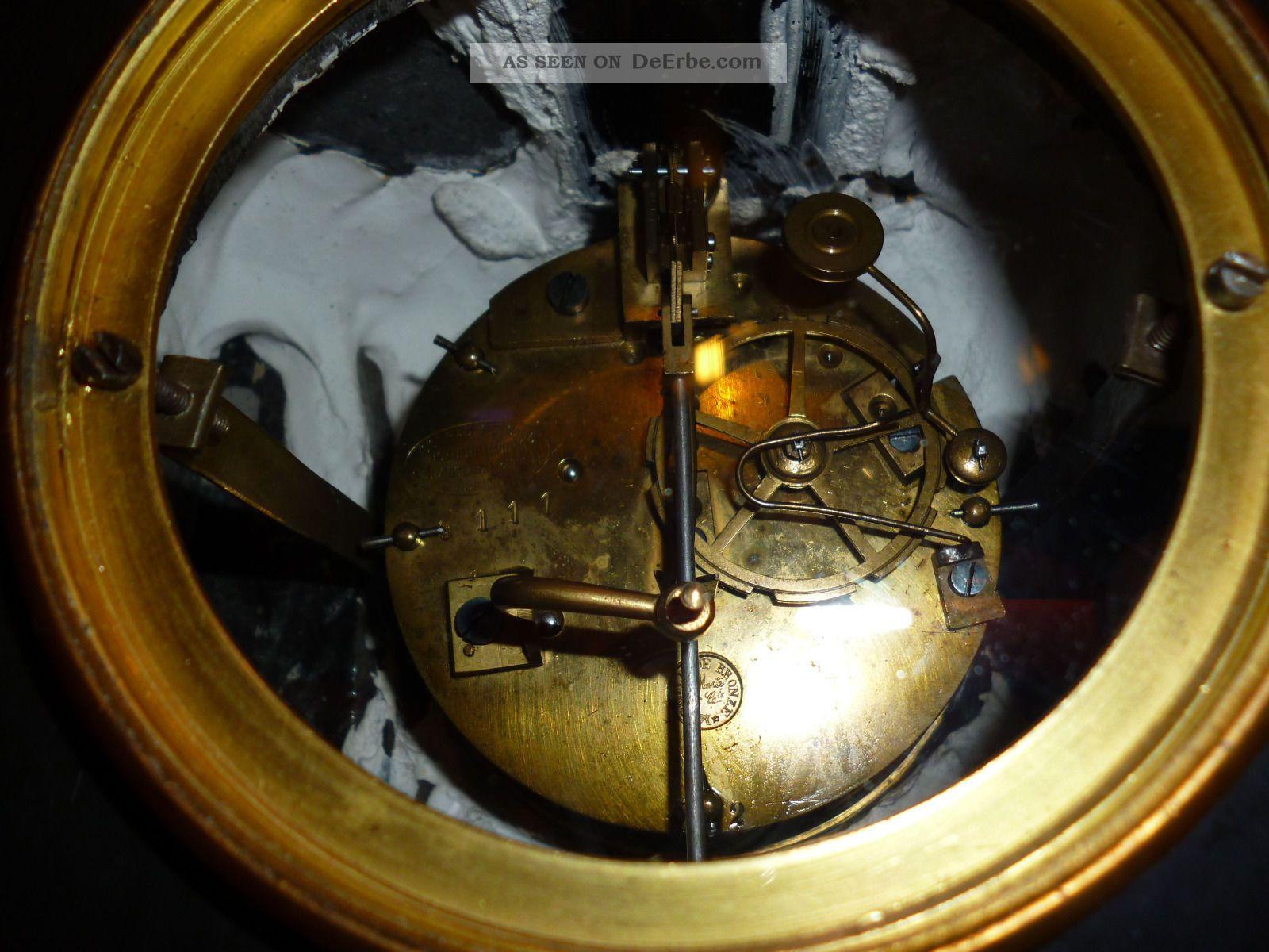 Antike Uhr Marmor Schwarz Ca. 1870 Conrad Felsing