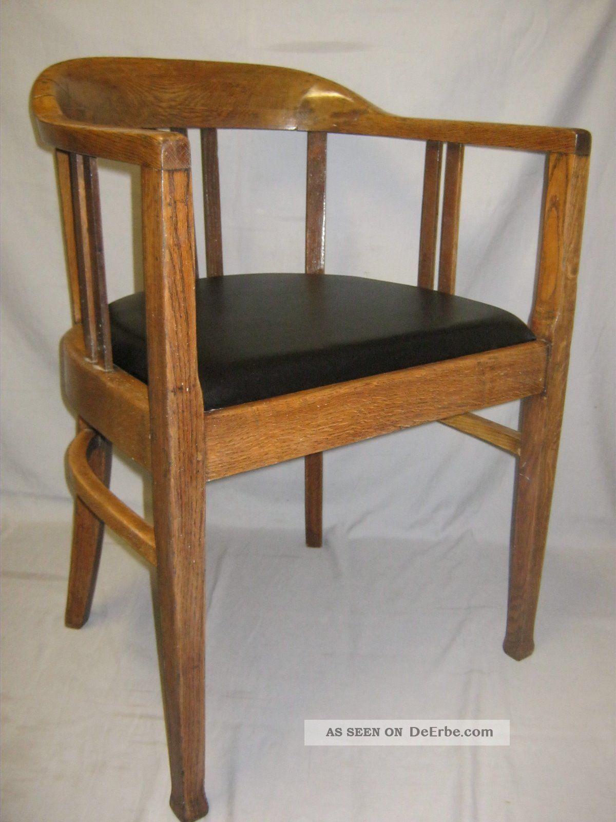 Schreibtischstuhl antik  Armlehnstuhl Jugendsti Art Deco Gropius Stuhl Holzstuhl ...