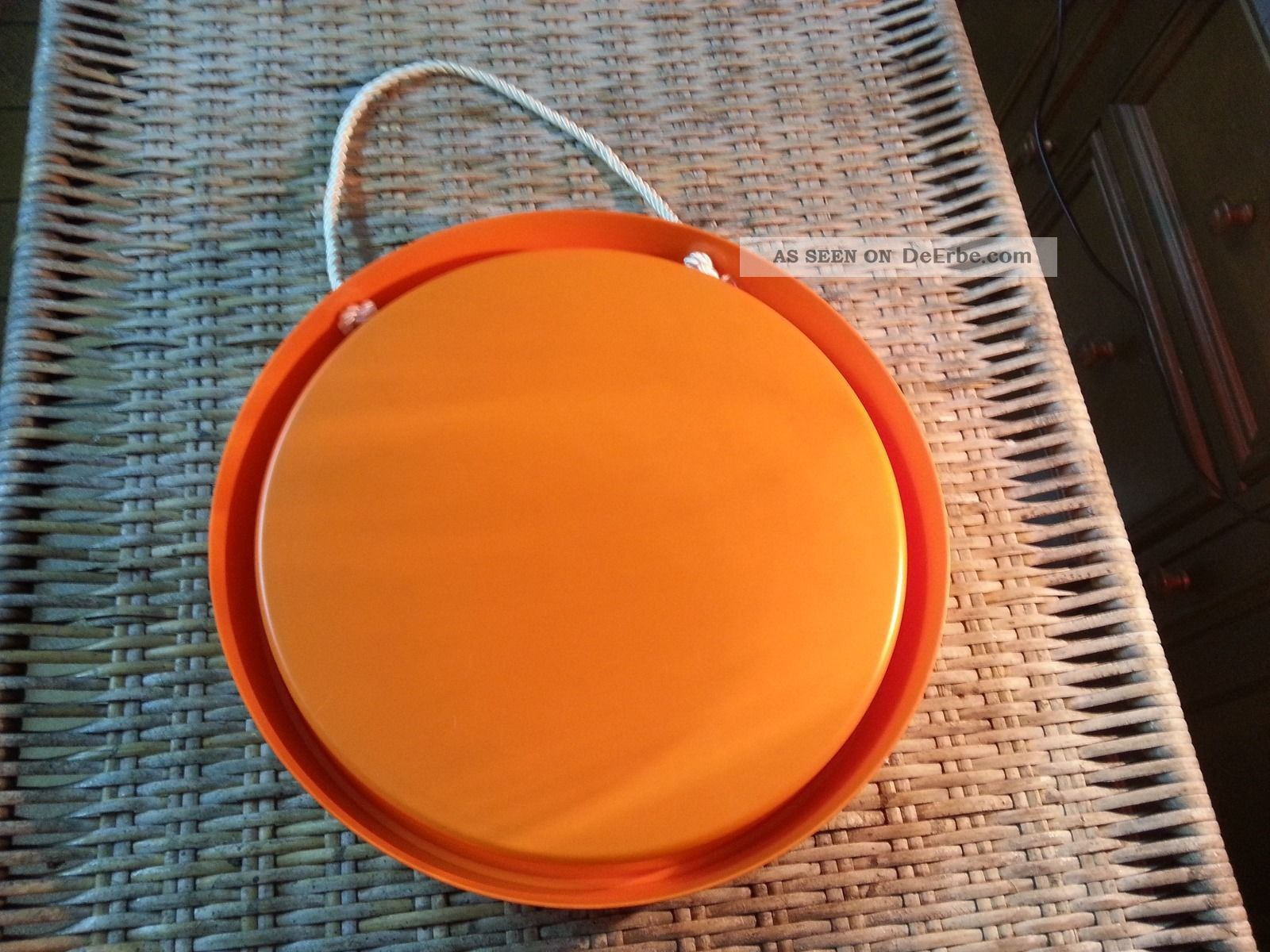 spiegel zum h ngen orange 70s 70er rund ddr retro kult. Black Bedroom Furniture Sets. Home Design Ideas