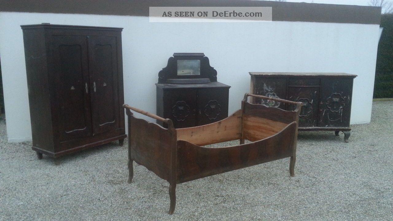Altes Schlafzimmer Schrank Kommode Bett Seitenschrank