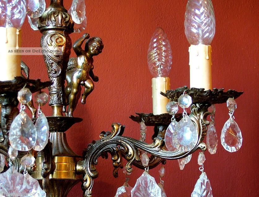 kronleuchter l ster putten antik kristall bronze chandelier jugendstil lampe alt. Black Bedroom Furniture Sets. Home Design Ideas