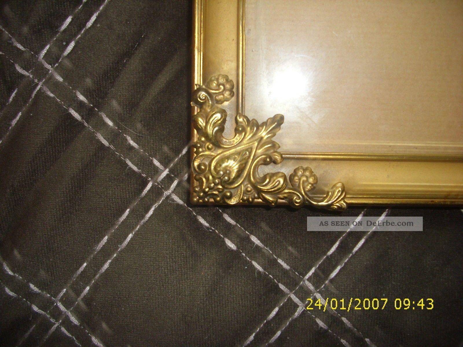 antiker bilderrahmen foto rahmen gew lbtes glas sehr alt barock kupfer gold. Black Bedroom Furniture Sets. Home Design Ideas