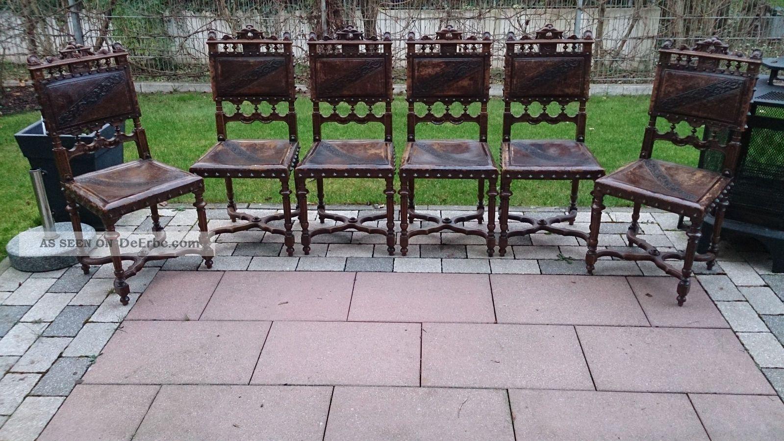 6 antike st hle im henry ii stil mit pr ge leder. Black Bedroom Furniture Sets. Home Design Ideas