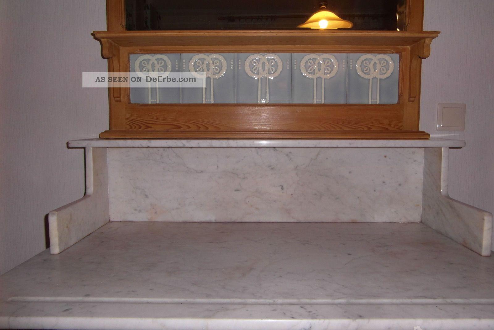antike wasch kommode mit spiegel und marmorplatte von ca. Black Bedroom Furniture Sets. Home Design Ideas