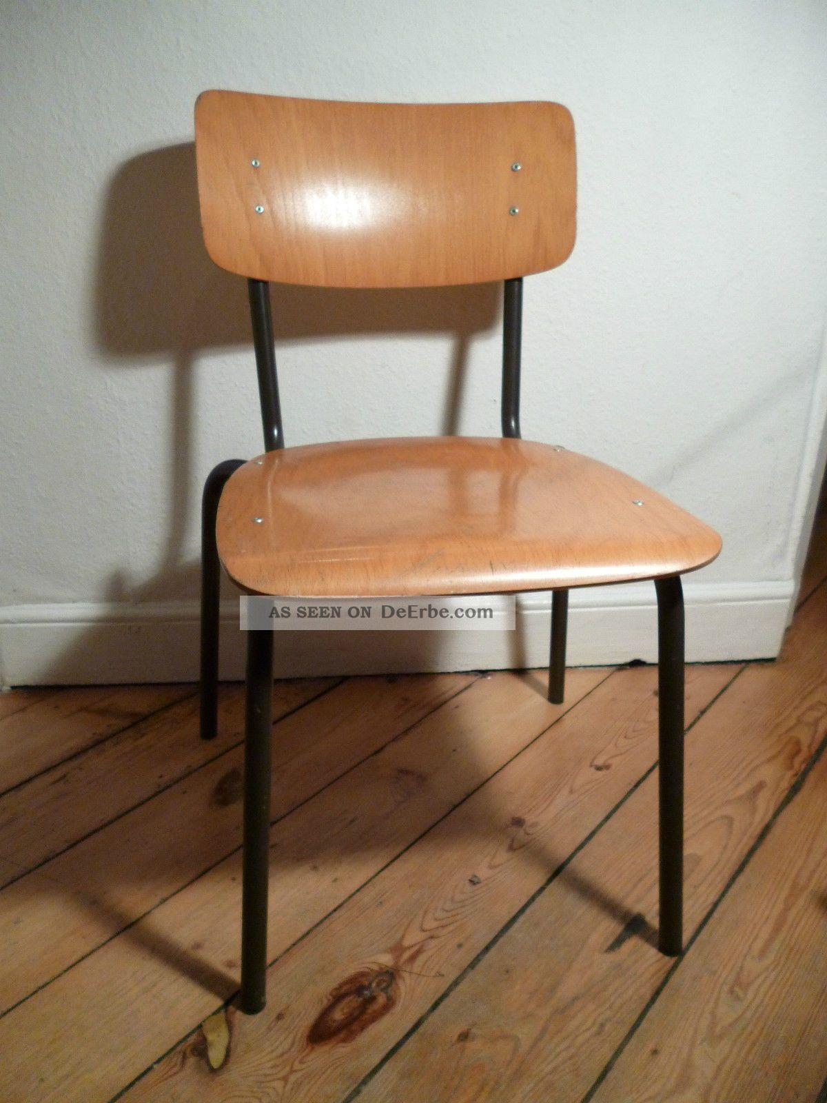 Antiker Schulstuhl, 50er, 60er, Stuhl, Antik, Holz, Metall, Stahlrohr