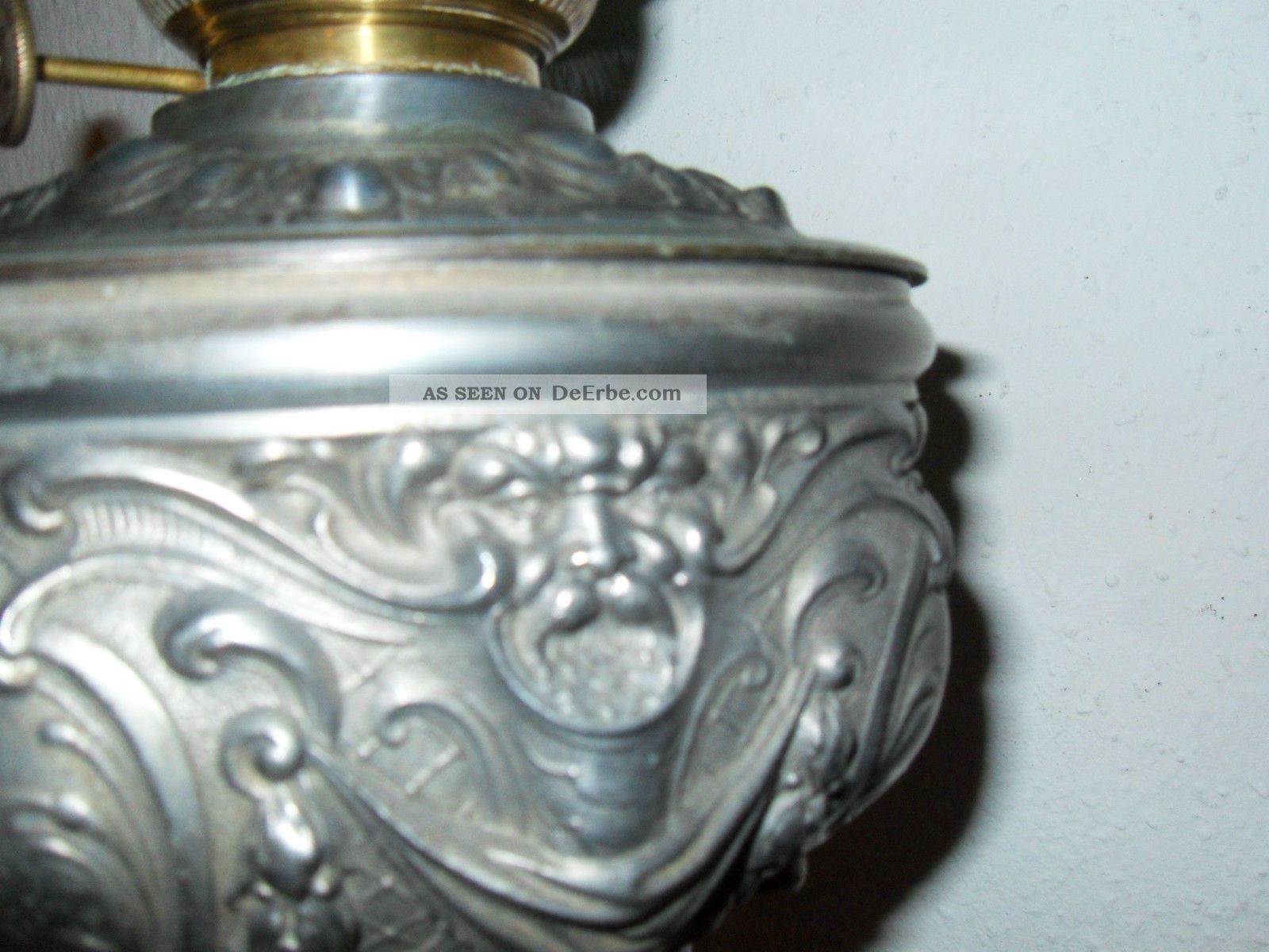 alte petroleum tisch lampe zinkguss gr ner schirm messingbrenner mit zylinder. Black Bedroom Furniture Sets. Home Design Ideas