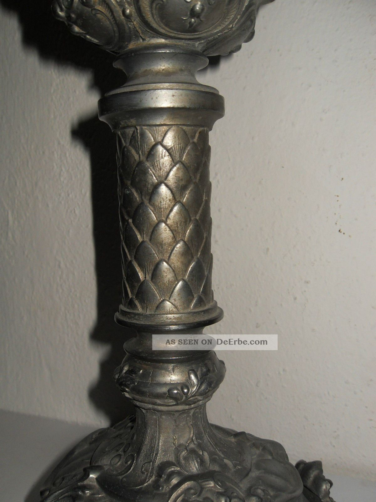 Alte Petroleum Tisch Lampe, Zinkguss, Grüner Schirm, Messingbrenner Mit  Zylinder