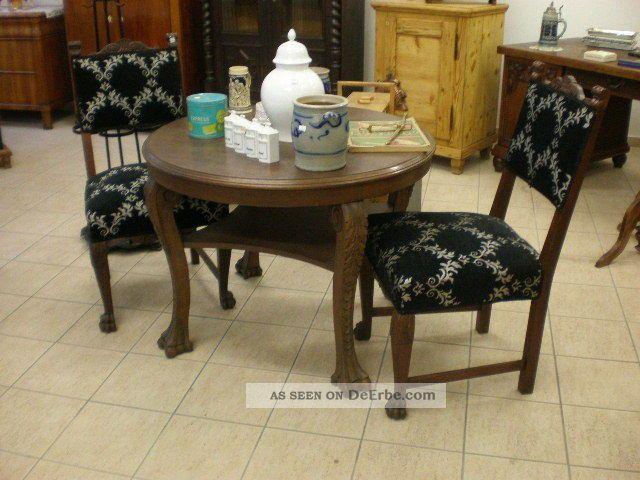 Antik tisch und 2 sessel gr nderzeit l wenf e for Sessel und tisch