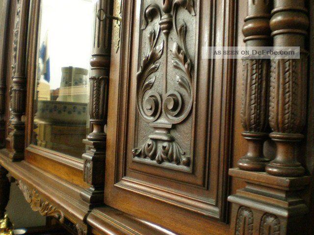 Prunkvolles Antik Grnderzeit Zimmer Schrank Sideboard Tisch Und 6 Sthle Bild