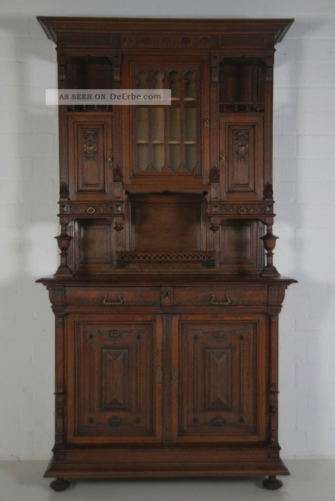 Antik Buffet Schrank Grunderzeit Jugendstil Vitrinenschrank