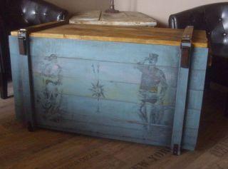 Shabby Couchtisch Titanic Frachtkiste Holzkiste Truhentisch Vintage Retro Kiste Bild