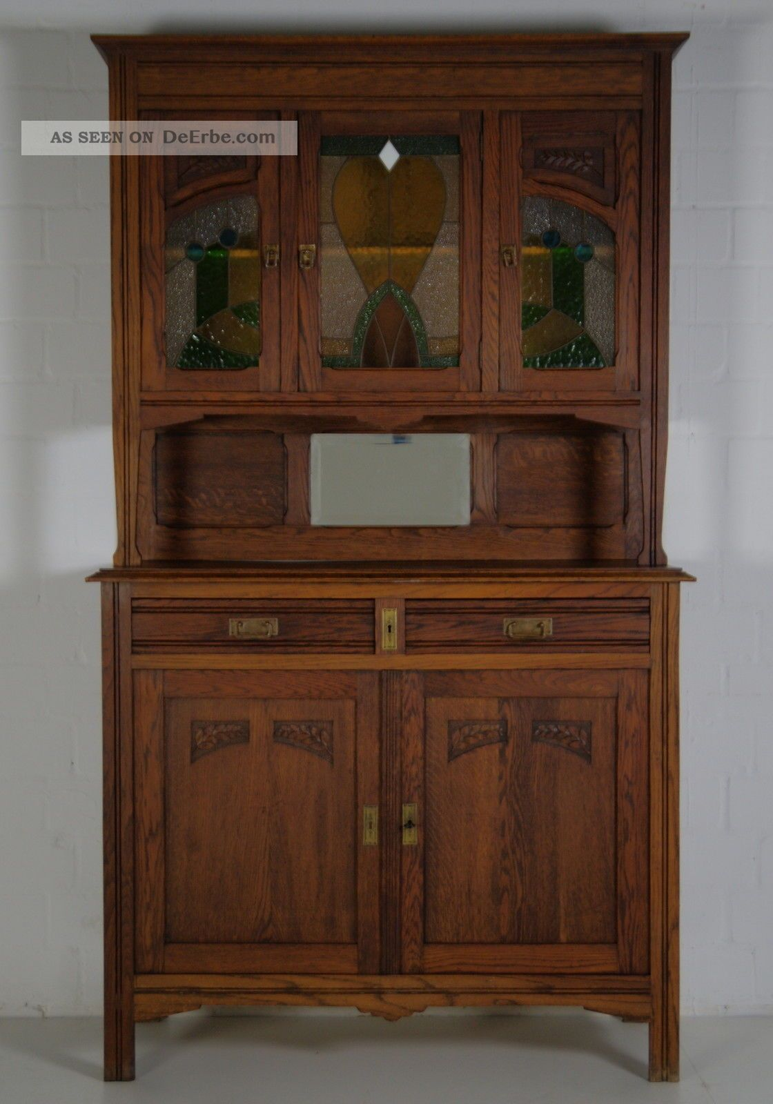 antik buffet schrank jugendstil vitrinenschrank eiche. Black Bedroom Furniture Sets. Home Design Ideas