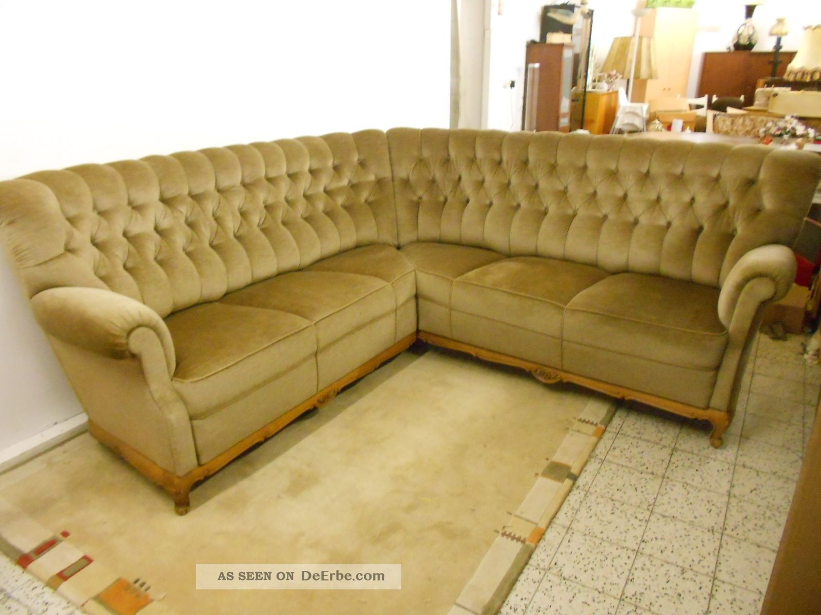 sofa couch ecksofa chippendale stil chesterfield stil gr n. Black Bedroom Furniture Sets. Home Design Ideas