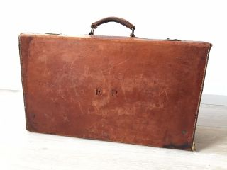 Antiker Lederkoffer Funktionsfähig Reisekoffer Vintage Deko Bild
