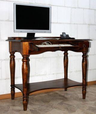 Computertisch Schreibtisch Sekretär Pc Tisch Massiv Holz Wenge Nußbaum Braun Bild