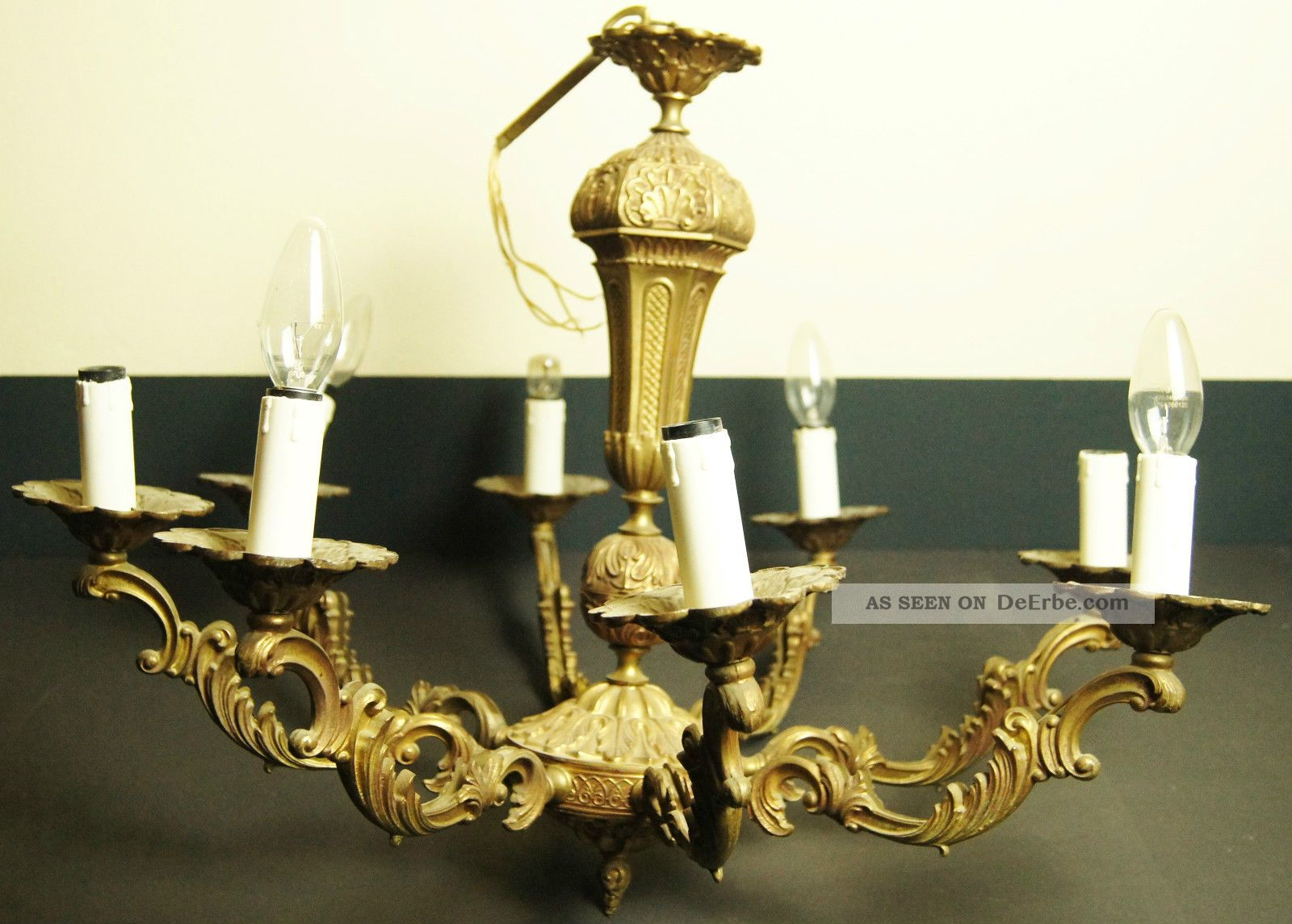 kronleuchter bronze 8 arm lampe l ster frankreich antik massiv. Black Bedroom Furniture Sets. Home Design Ideas