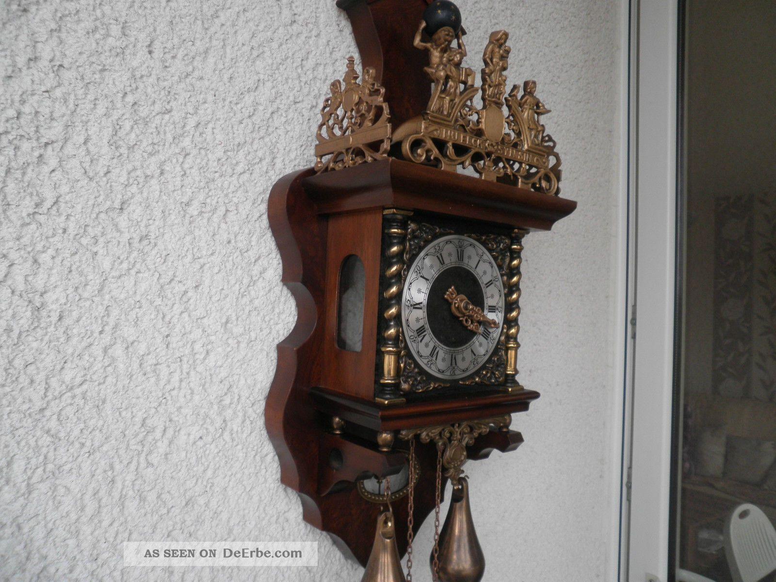 holz regulator wanduhr aus holland glockenschlag zaanse clock innen 60cm. Black Bedroom Furniture Sets. Home Design Ideas