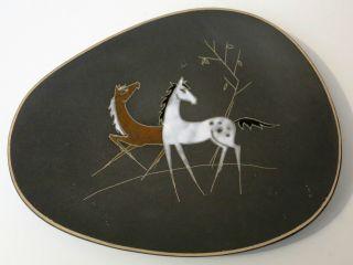 50er Jahre Ruscha Wandteller Sammlerteller Vintage Mid Century Pferde Bild