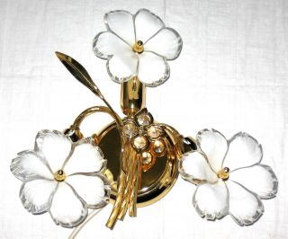 Wunderschöne Wandlampe Aus Messing Mit 3 Blumen Aus Dickwandigem Glas Bild