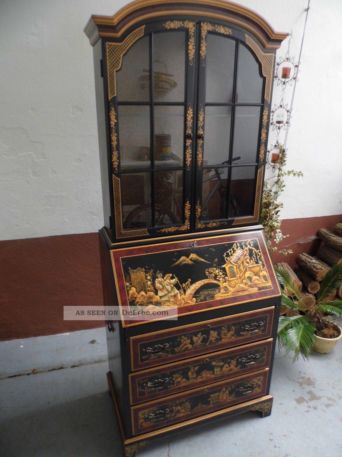 Sch ner sekret r maddox chinesisch asiatisch bemalt for Schrank vitrine