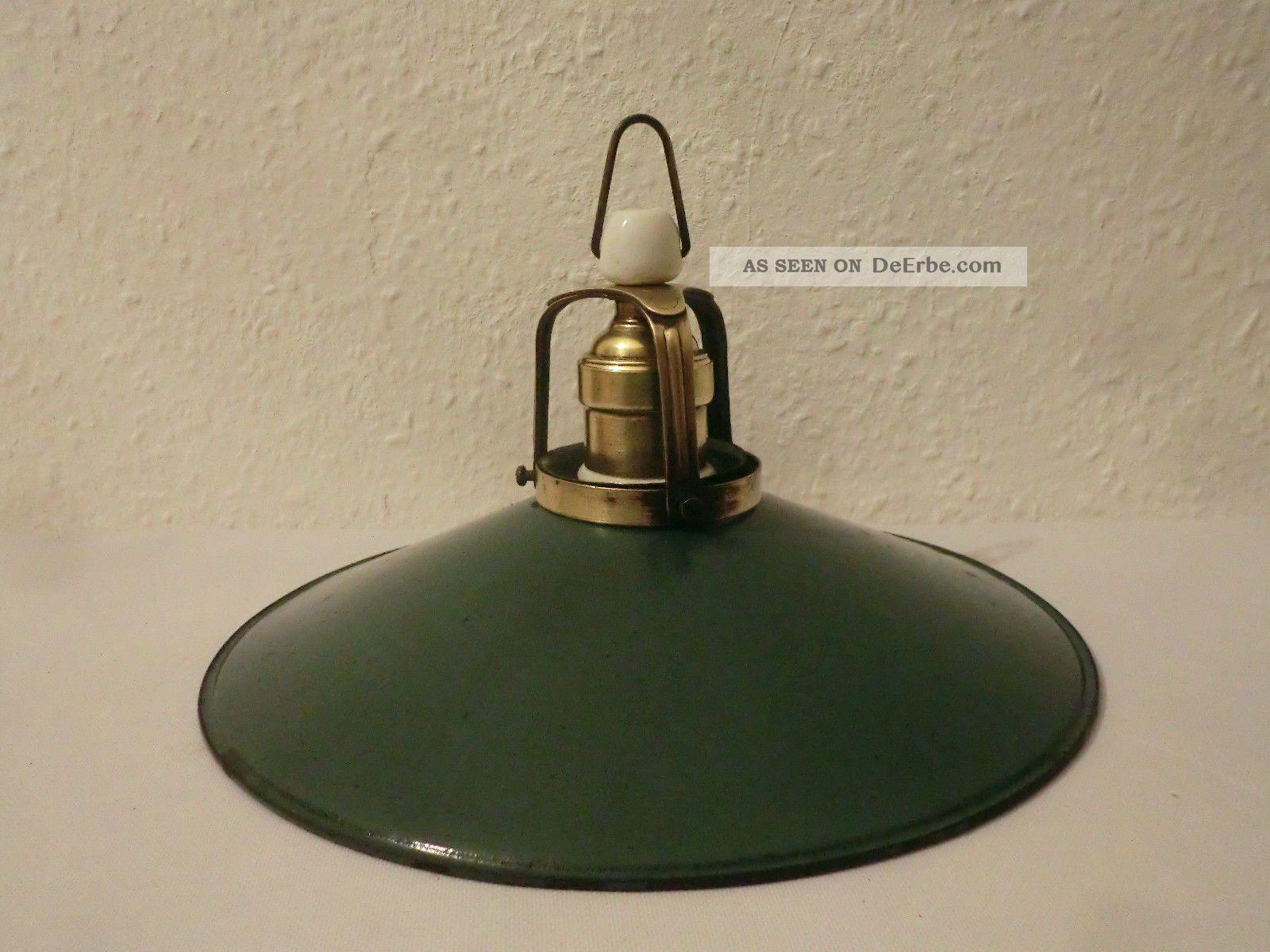 Antik messing lampe leuchte emaillelampe deckenlampe for Lampen antik