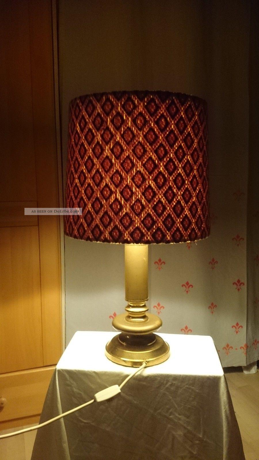 Alte Grosse Tischlampe Stehlampe Messing 60er 70er Vintage