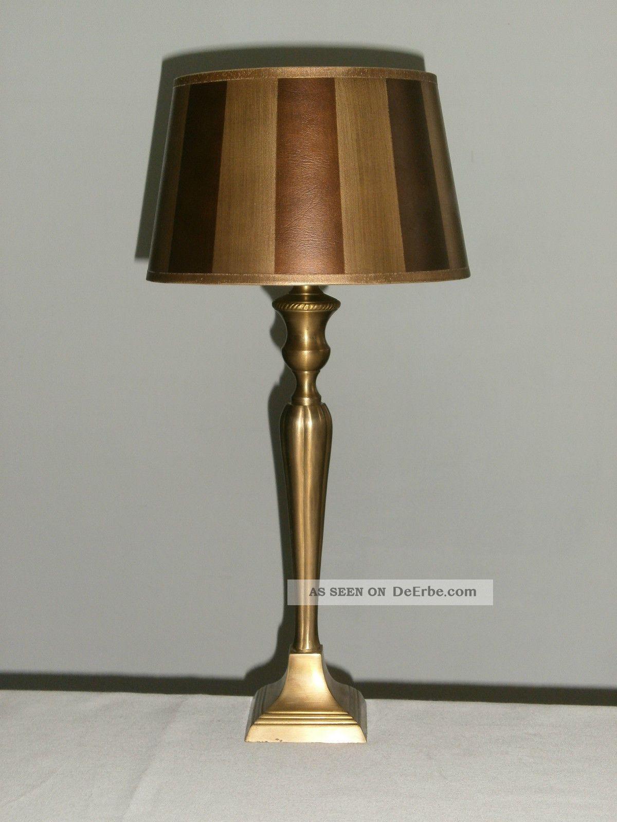 2 ltere noble grosse tischlampen tischleuchten aus messing landhaus. Black Bedroom Furniture Sets. Home Design Ideas