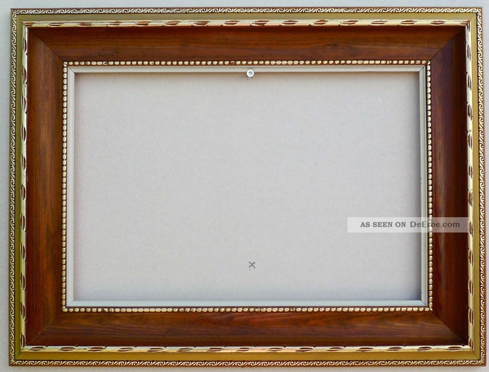 Alter Rahmen Braun Gold Stuck Holz Antik Jugendstil Falz 45, 5x30, 5cm