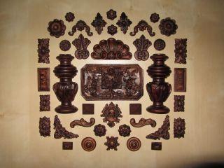 zierteilesatz ft eiche dunkel 40 teilig f r restaurationen von sammleruhren bild. Black Bedroom Furniture Sets. Home Design Ideas