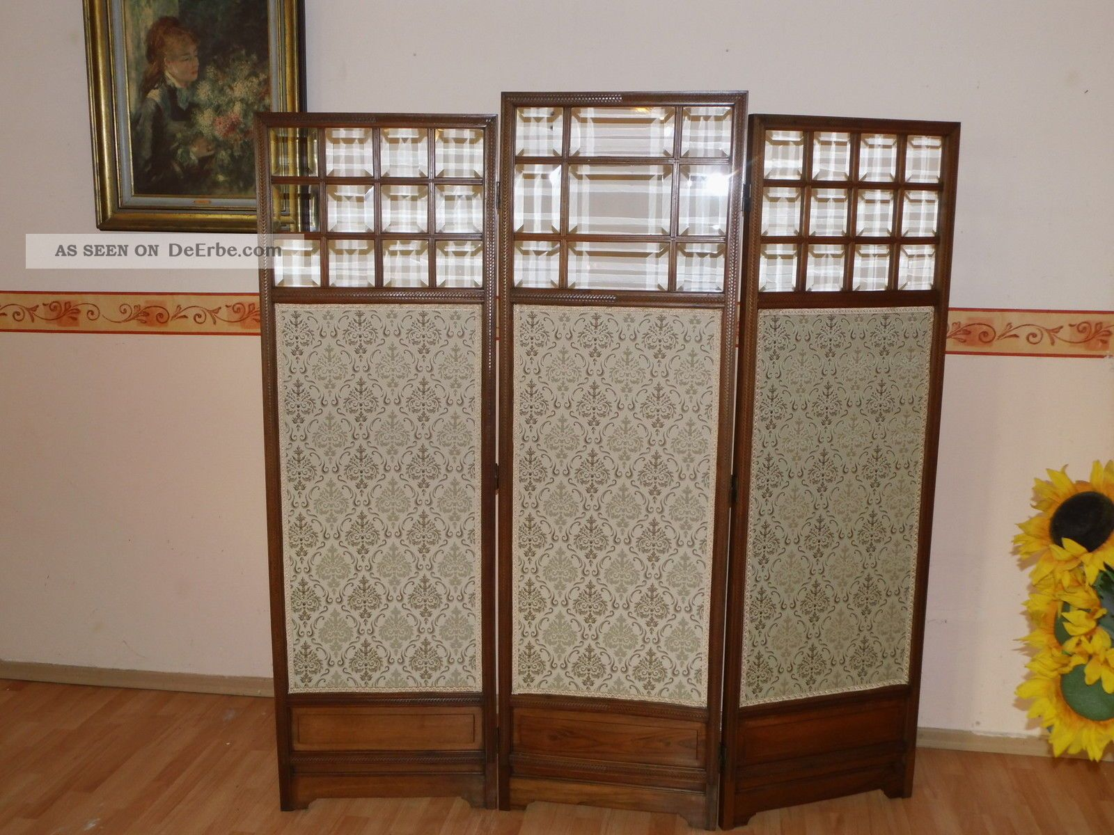 originales jugendstil paravent raumteiler kirschholz um1910 top. Black Bedroom Furniture Sets. Home Design Ideas