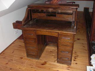 Schreibtisch Sekretär Rollsekretär Antik Um 1900 Bild