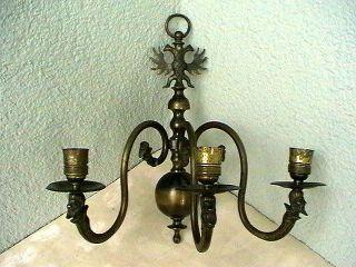 Große Alte Wandlampe,  Wandleuchte 3 - Flamig Messing Doppeladler Bild