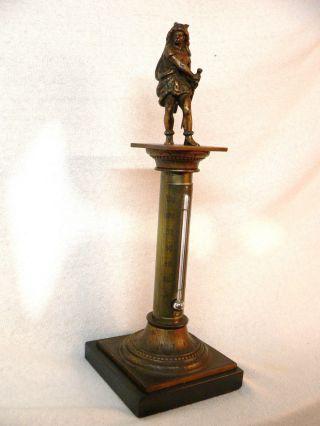 Stand - Thermometer Mit Fahrenheit,  Reaumur Skala 28,  7 Cm Hoch,  Metall Um 1870 Bild