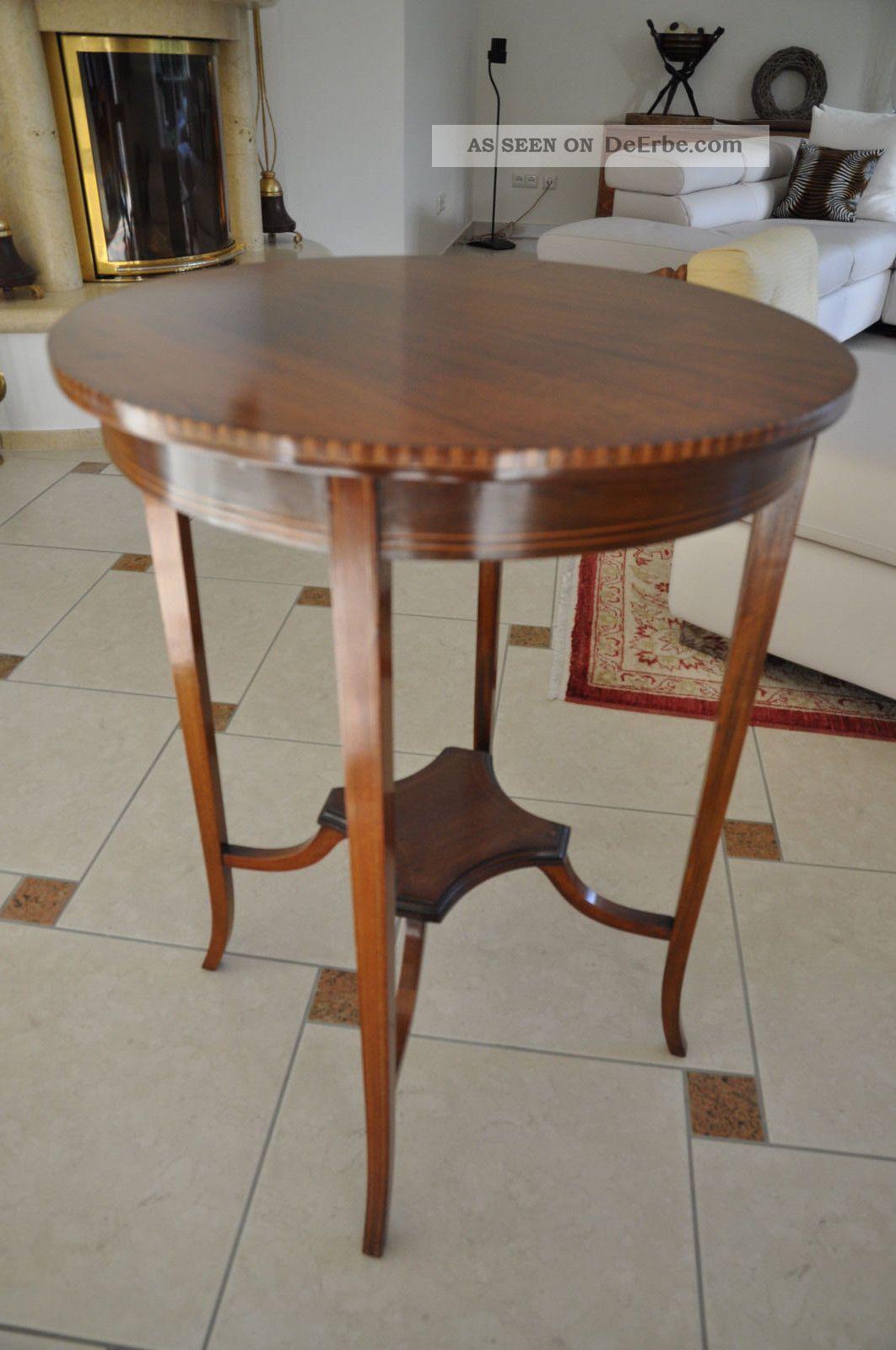 mahagoni runder tisch beistelltisch mit eibe england um 1910. Black Bedroom Furniture Sets. Home Design Ideas