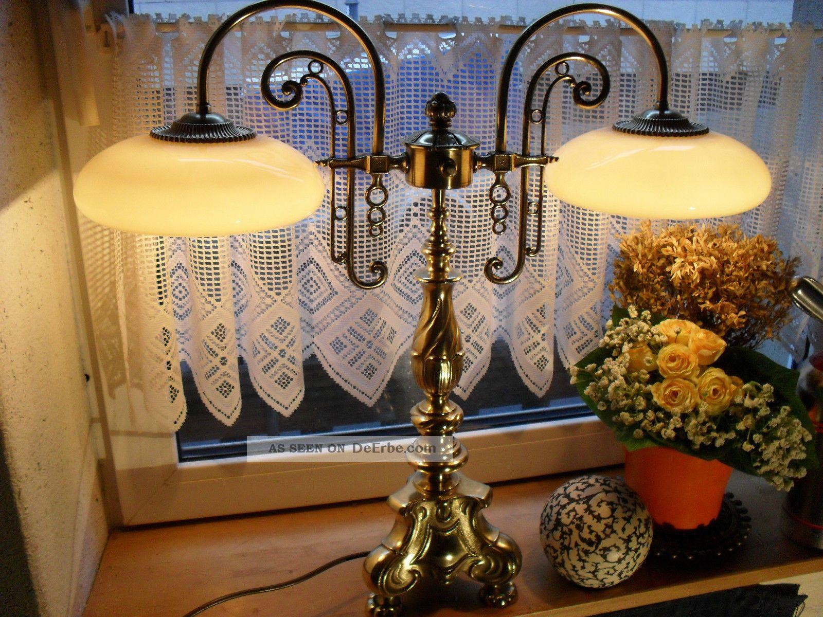 Prunkvolle Antike Bibliotheken Lampe Um 1920 Jugendstil Messing Glasschirme Bild