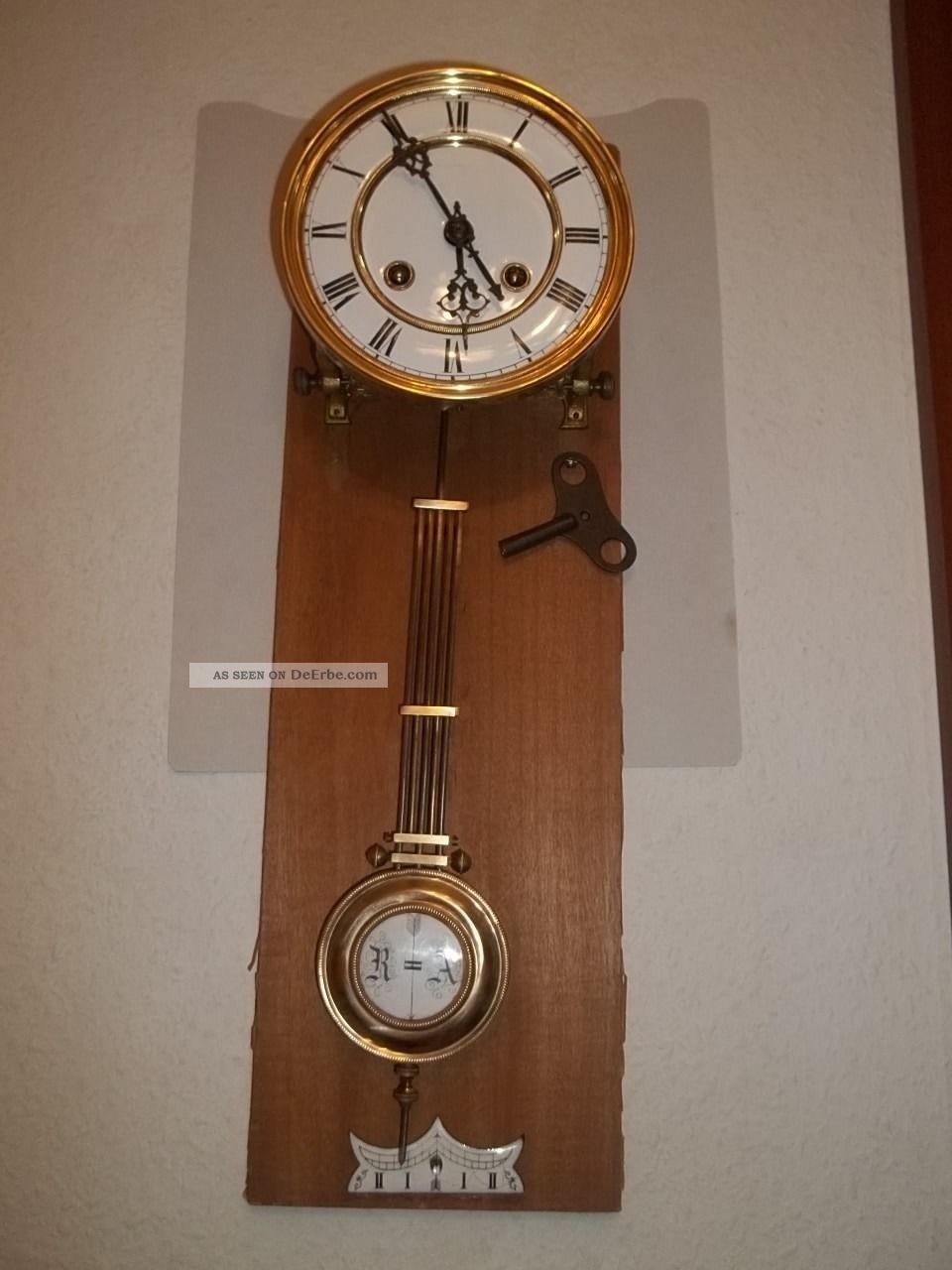 antikes uhrwerk regulator wanduhr ruttmann klein um 1870. Black Bedroom Furniture Sets. Home Design Ideas