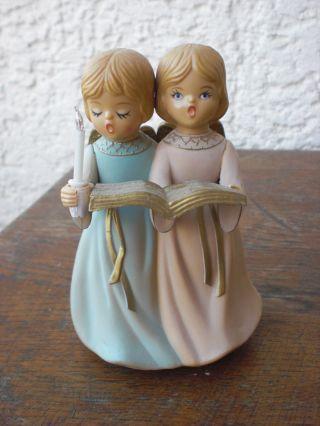 2 Engel Mit Spieluhr Merton Co.  Ltd 1981 Sehr Schön Bild