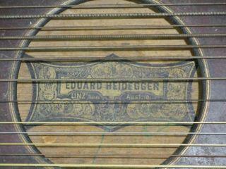 Antiquität Zitter Heidegger Linz Zupfinstrument Musik Saite Holz Shabby Vintage Bild