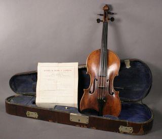 Geige Violine 4/4 Antik Um 1830 19.  Jahrhundert Mit Koffer 3805 - 1 - 1 Bild