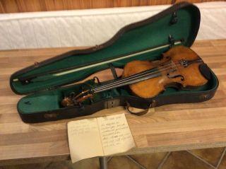 Sehr Alte Geige Mit Bogen Und Kasten - Stainer Kopie Bild