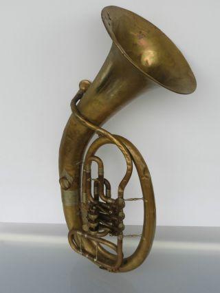 Tuba C.  A.  Wunderlich Siebenbrunn Vogtland Instrument Mit Mundstück Alt Bild